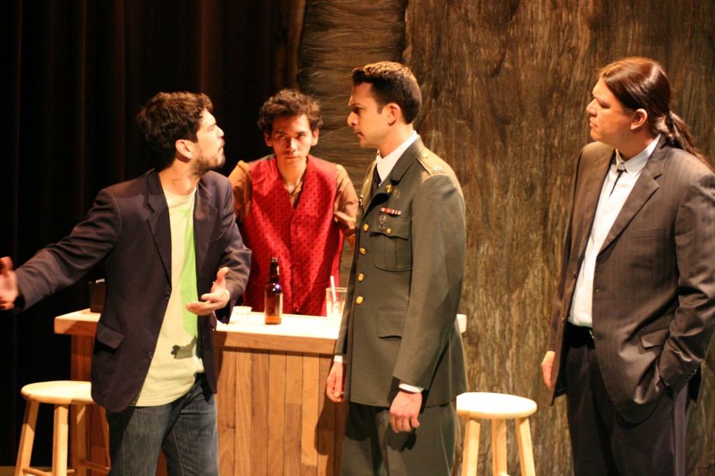 "Raul Castillo as Brewster, Alex Jacob Wilson as Flint, Matt Langer as Art Jr., and Brandon Oakes as Gary in a still from ""Smoke,"" by Vickie Ramirez, directed by Richard C. Aven, photo by Freddie Maloney"